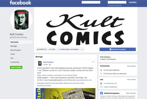 Kult Comics bei Facebook